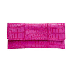 Crocodile Embossed Clutch - Hot Pink