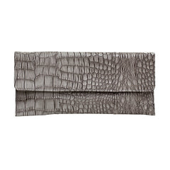 Crocodile Embossed Clutch - Grey