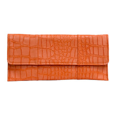 Crocodile Embossed Clutch - Orange