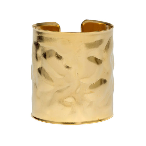 Brushed Wide Gold Wave Cuff