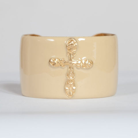 Cuff Bracelet - Cream Cross