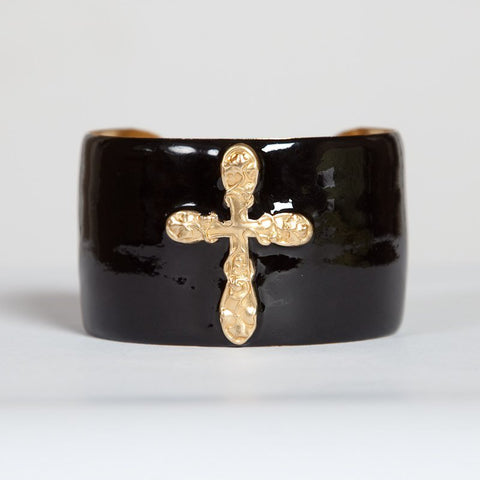 Cuff Bracelet - Black Cross