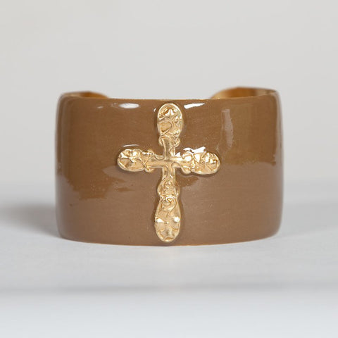 Cuff Bracelet - Gold Cross