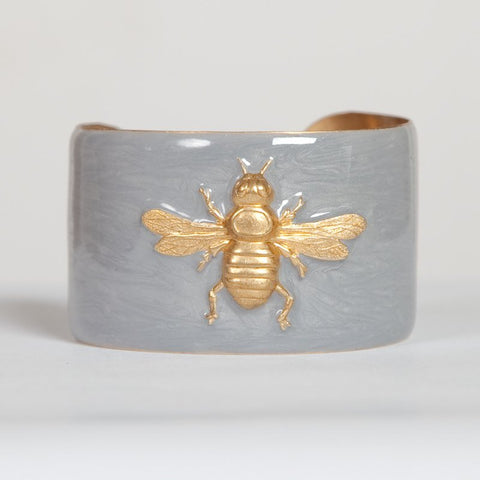 Cuff Bracelet - Silver with Gold Bee