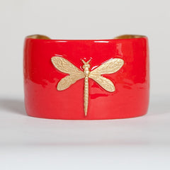 Cuff Bracelet - Coral Dragonfly