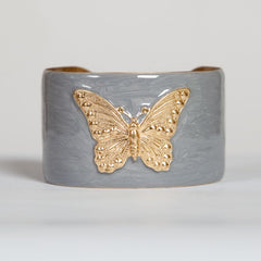 Cuff Bracelet - Silver with Gold Butterfly