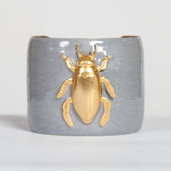 Cuff Bracelet - WIDE Silver with Gold Scarab