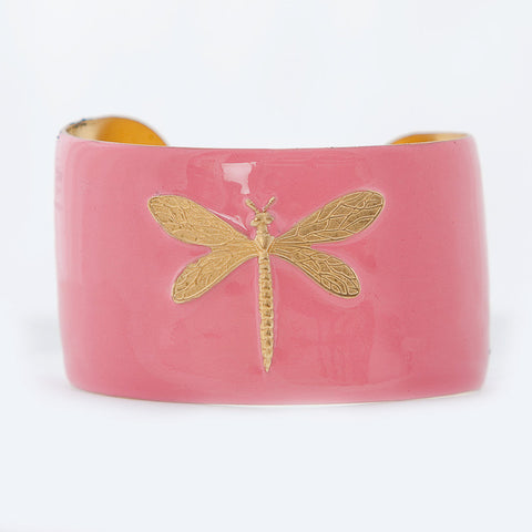 Cuff Bracelet - Light Pink Dragonfly