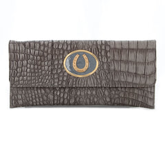 Crocodile Embossed Clutch - Grey - horseshoe