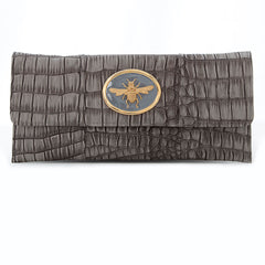 Crocodile Embossed Clutch - Grey - bee