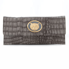 Crocodile Embossed Clutch - Grey - owl