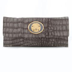 Crocodile Embossed Clutch - Grey - sand dollar