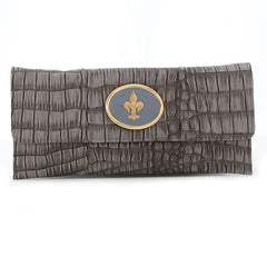 Crocodile Embossed Clutch - Grey - fleur de lis