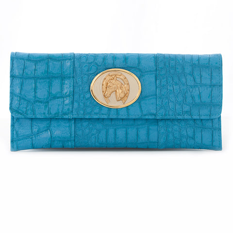 Crocodile Embossed Clutch - Turquoise - cream lucky horse