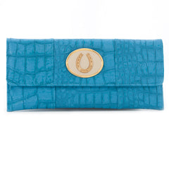 Crocodile Embossed Clutch - Turquoise - white horseshoe