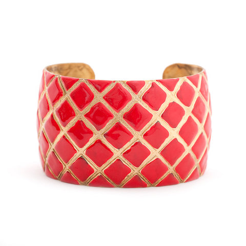 Quilted Cuff Bracelet - Coral