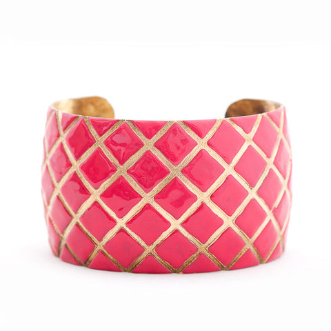 Quilted Cuff Bracelet - Hot Pink