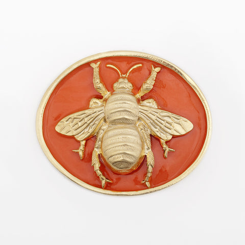 Enamel Queen Bee Buckle - Orange