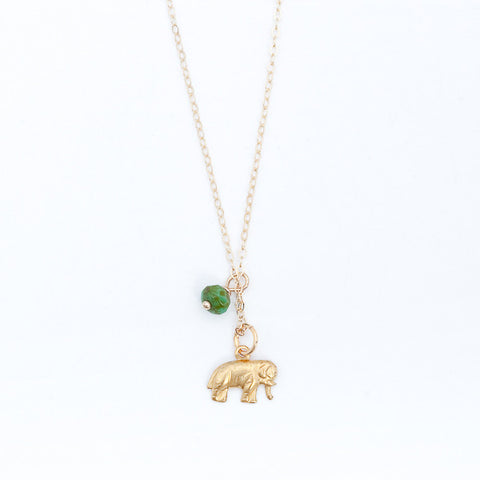 Mini Turquoise/Pearl Charm Necklace - Elephant