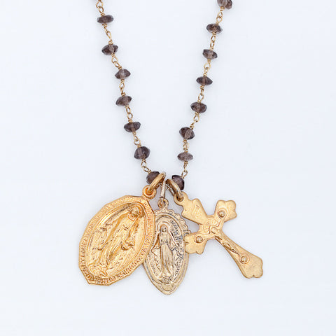 Holy Medals Gemstone Layering Charm Necklace - Smoky Quartz