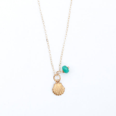 Mini Turquoise/Pearl Charm Necklace - Scallop