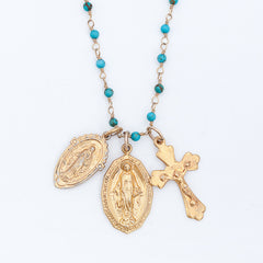 Holy Medals Gemstone Layering Charm Necklace - Turquoise
