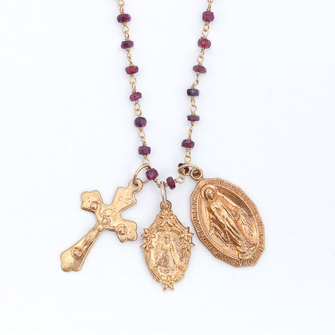 Holy Medals Gemstone Layering Charm Necklace - Garnet