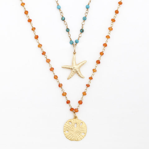 Gemstone Layering Charm Necklace - Starfish or Sandollar