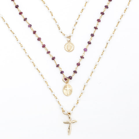 Gemstone Layering Charm Necklace - Cross or Virgin Mary