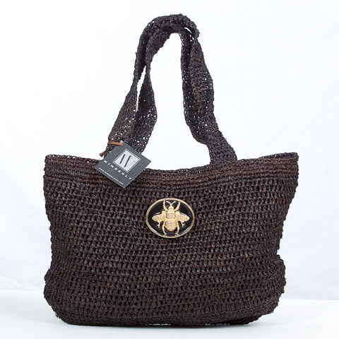 Raffia Slouch Tote - Black Queen Bee