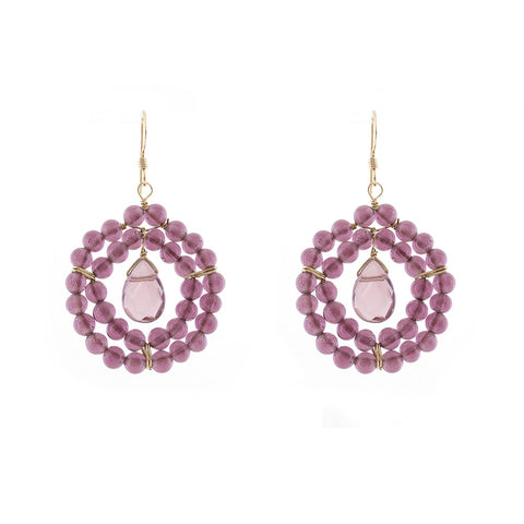 Kallie Earrings Double Row Earrings - Light Amethyst
