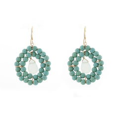 Kallie Earrings Double Row Earrings - Green Turquoise