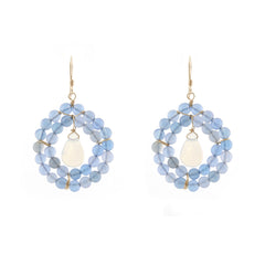 Kallie Earrings Double Row earrings - Periwinkle Chalcedony