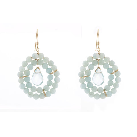 Kallie Earrings Double Row Earrings - Amazonite