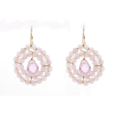 Kallie Earrings Double Row Earrings - Rose Quartz