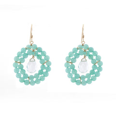 Kallie Earrings Double Row Earrings - Minty Seafoam Chalcedony