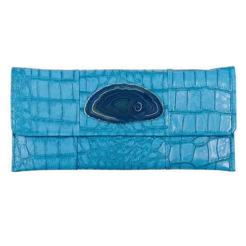 Crocodile Embossed Clutch - Turquoise with agate slab