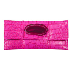 Crocodile Embossed Clutch - Hot Pink with agate slab