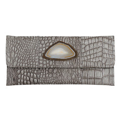 Crocodile Embossed Clutch - Grey with agate slab