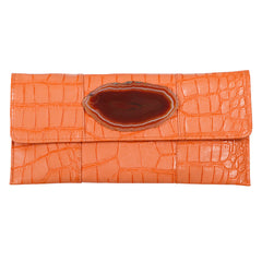 Crocodile Embossed Clutch - Orange with agate slab