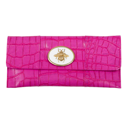 Crocodile Embossed Clutch - Hot Pink - white queen bee
