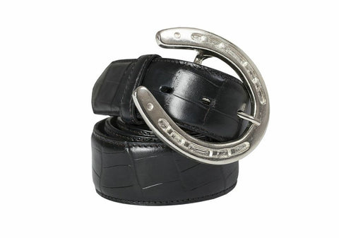 Horseshoe Buckle on Black Crocodile Embossed Belt