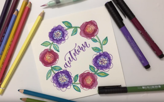 Autumn Hand Lettering with Watercolor Flower Wreath