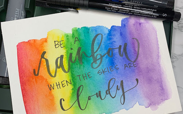 Rainbow Watercolor with Hand Lettering