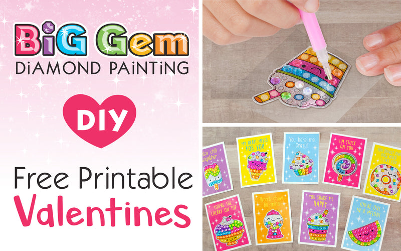 Big Gem Diamond Painting DIY Free Printable Valentines