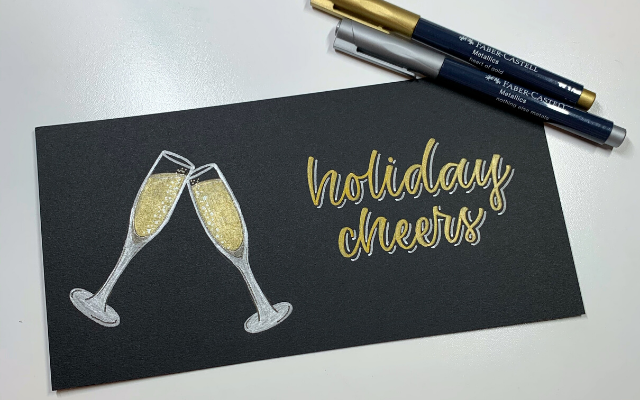 Metallic Markers and Champagne Flutes and Hand Lettering