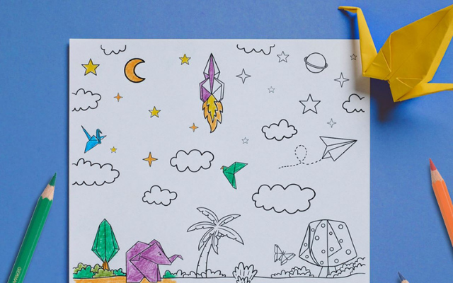 Childrens Day coloring page and color pencils