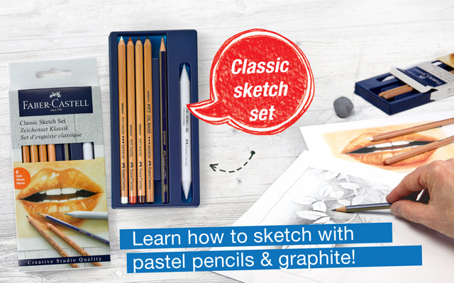 Classic Sketch Set. Learn how to sketch with pastel pencils & graphite!
