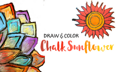 Colorful Sunflower Craft for Kids with Glue and Chalk