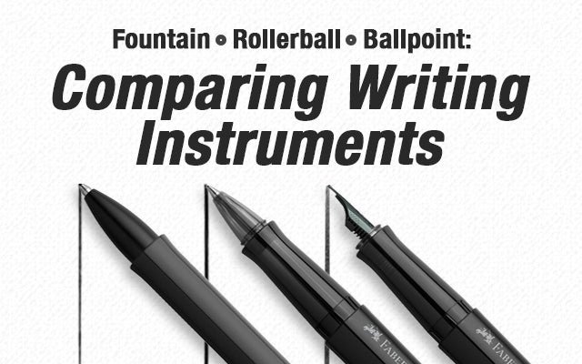 Fountain pen, rollerball pen, and ballpoint pen comparison